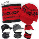 눈꽃 니트 방한모자 세트 넥워머세트 겨울 방한 모자