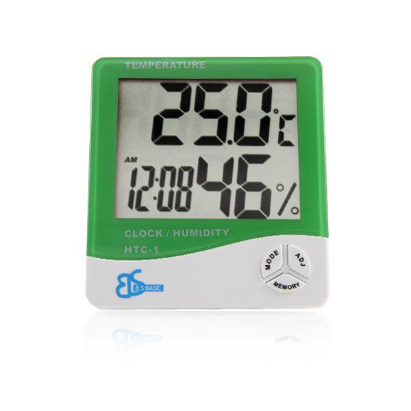 디지털 온습도계 HTC-1 그린 / 온도계 습도계 시계