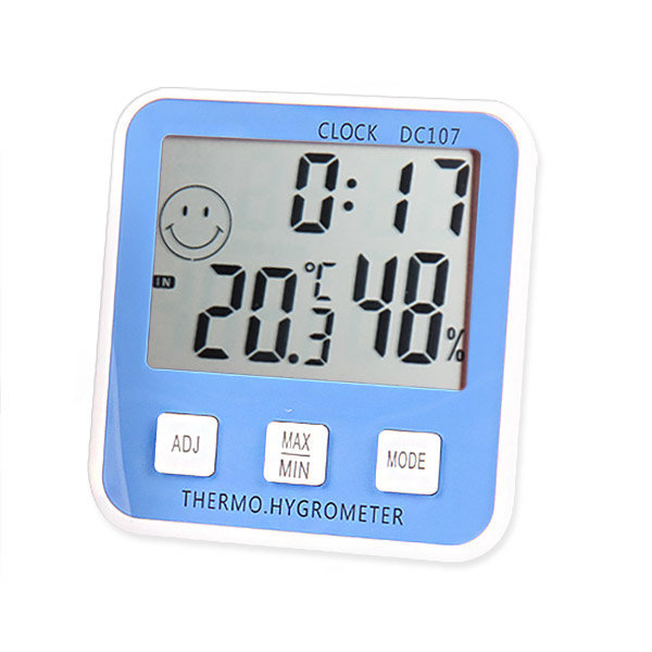 이모티콘 온습도계 블루 / 온도계 습도계 시계