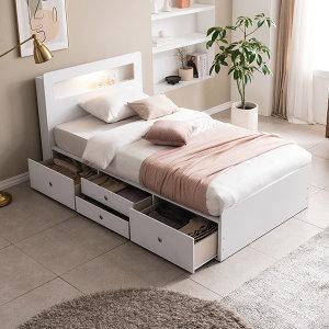 포니 빅서랍 LED 4단 수납 침대(40T 컴포트폼SS)