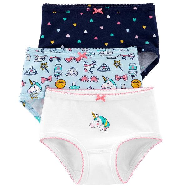 아동팬티 블루유니콘 3종세트 유아속옷 면 여아삼각