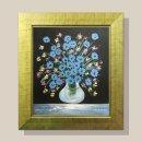 푸른 부귀의꽃병 돈들어오는그림 유화그림 12호/골드