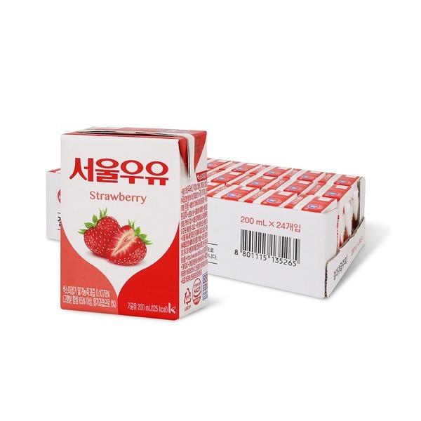 딸기 멀균우유 200ml x 24입 (1박스)
