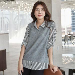 (현대Hmall)엄마옷 마담4060 V카라배색티셔츠-XTE101046-