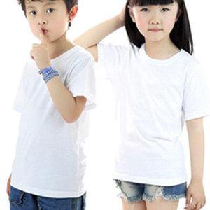 남녀공용 아동 무지티 라운드 반팔 면티 흰티 기본티