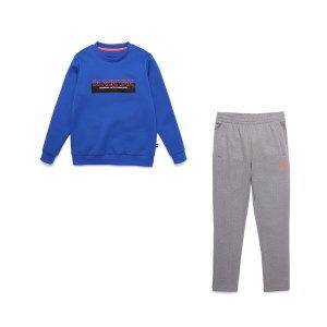 블랙야크키즈  레터링 포인트의 맨투맨 티셔츠 바지 세트  S트레이세트