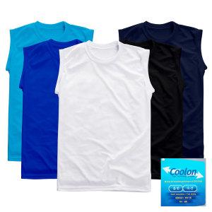 민소매 쿨론 라운드 티셔츠 기능성 무지 나시티 흰티