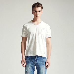 버커루  남여공용 26수 슬럽 피그먼트 V넥 반팔 티셔츠(B202Z1040P)
