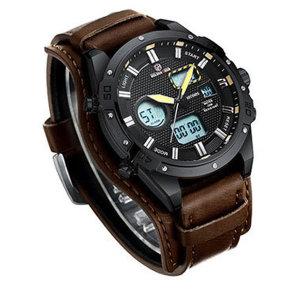 골든아워GH-117 블랙 프레임진 브라운 밴드 손목 시계