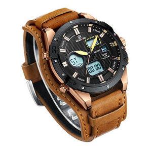 골든아워GH-117블랙로즈 골드 프레임 브라운밴드 시계