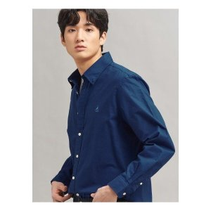 빈폴   멘   REGULAR  Unisex 로열 블루 솔리드 옥스포드 셔츠 (BC016