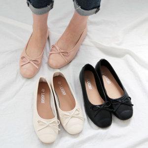 라운드 쉐입 리본 플랫슈즈 여성 레더 단화 신발 T708