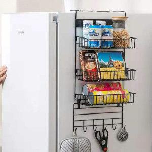 냉장고걸이 3단 스틸 수납선반(블랙) /주방 틈새선반