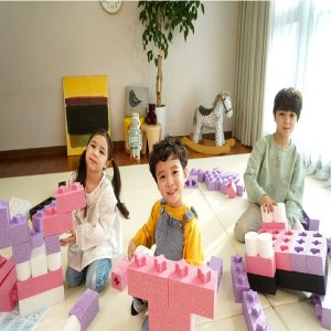 상상블록 빅블럭 시즌1 68개 A세트 (핑크 블랙) 교육용