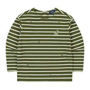 갤러리아  스트라이프 롱 슬리브 티셔츠  0003 카키