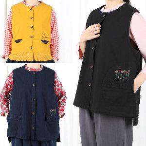 여자면조끼 까페 앞치마 춘추 작업복 생활한복 개량