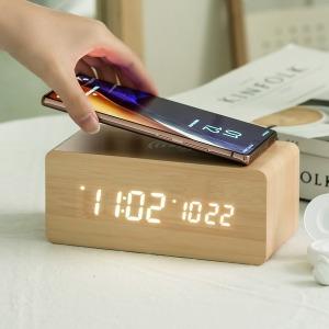 우드 무선충전 데이트 LED 탁상시계+USB아답터 블랙 외