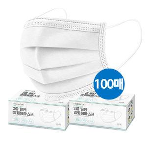 3중필터 성인 1회용 일회용 마스크 대형 화이트 100매