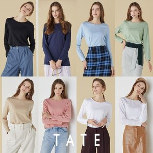 TATE 21봄 오가닉코튼 라이크라 에센셜 티셔츠 여성 8종