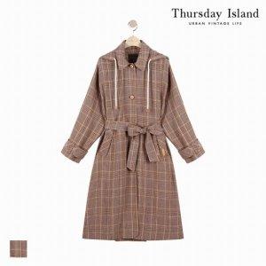 써스데이아일랜드_위즈원  Thursday Island  여성 린넨 루즈핏 체크 트렌치(T