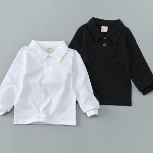 기본 카라 티셔츠(흰색/검정) (흰색주니어사이즈옵션가없슴XXL사이즈추가)