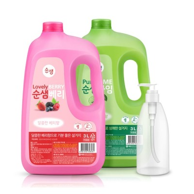 [애경] 주방세제 순샘 대용량 3L x2개(라임1+베리1)+리필용기