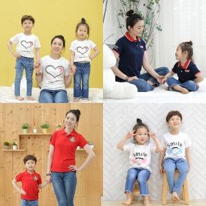 아동 유아 주니어 남아 여아 의류 단체티 반티 티셔츠
