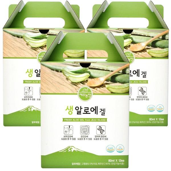 제주농장 생알로에겔 장건강 80ml 12포 3세트+사은품