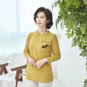 (현대Hmall)엄마옷 마담4060 넥프릴플라워티셔츠-XTE103046-
