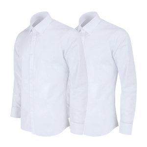 레디핏 화이트 흰색 슬림핏 긴팔 와이셔츠 2장세트