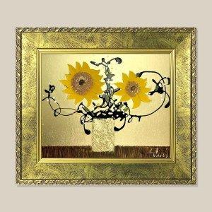 황금 해바라기 그림액자 유화그림 풍수그림(가로) 3호