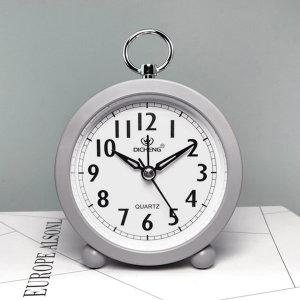 더설렌 탁상시계 원형 아날로그 알람시계 (그레이)