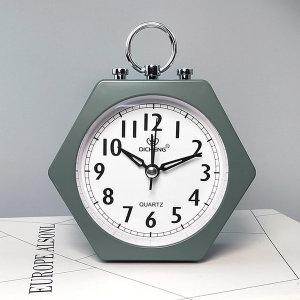 더설렌 탁상시계 육각 아날로그 알람시계 (그린)