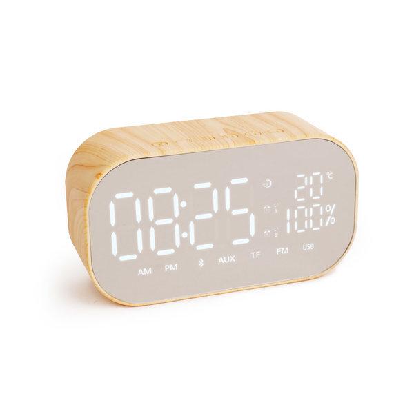 알람 시계 라디오 우드 블루투스스피커 SNP-W8 내츄럴