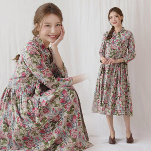 여자 생활 개량 계량 한복 봄 가을 연하나원피스