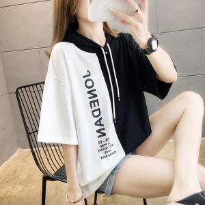 쥬단후드 티셔츠 빅사이즈 여성티 여름 반팔면티 모자