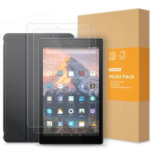 아마존 파이어 HD10 케이스+강화유리필름 2매 멀티팩