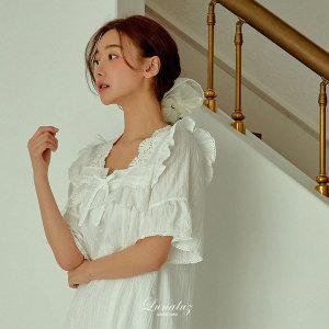 국산 로맨틱화이트 여성잠옷 반소매 원피스