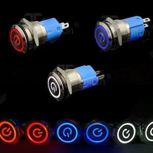 (SEUNGWON) LED 크롬토글 방수 푸쉬 락 스위치 (16mm)