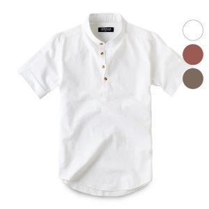 반팔 린넨 헨리넥 셔츠 남방 191. 여름 남자 남성 셔츠