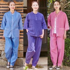 여름 패션생활한복 30수 7부소매 V넥 라운드 남녀공용