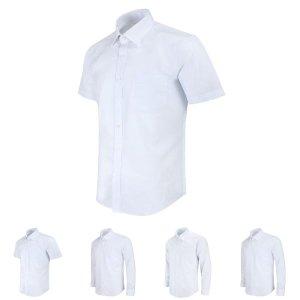 (사이즈 100) 반팔 레귤러 솔리드 화이트 셔츠 MN1001