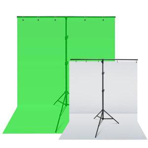 크로마키 배경천 스크린1.5x2m 스탠드 영상 사진 촬영