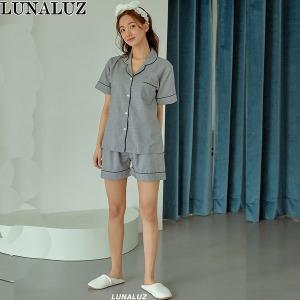 루나루즈 솔리드 CDP 여성 잠옷 반소매 상하세트