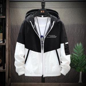 남성 간절기 후드 휴대용 경량 캐주얼 바람막이 자켓