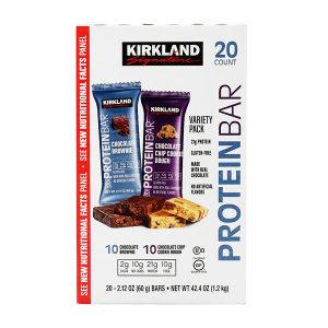 코스트코 프로틴바 버라이어티 팩 초콜릿 브라우니   초콜릿 칩 쿠키도우 20 개입 Kirkland 빠른직구