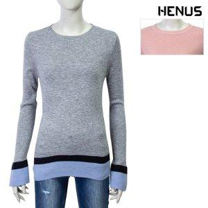 헨어스  여성 밑단배색 니트