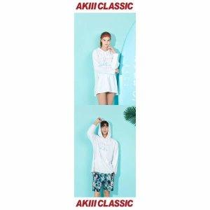 (현대백화점) 아키클래식  남여공용 루즈핏 라이드 래쉬가드 후드티셔츠 화이트 비치웨어/수영복/서핑 AKAI