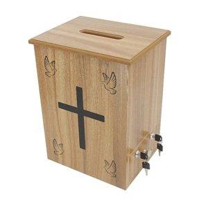 교회 헌금함 원목 헌금통 기부금 이중잠금 모금함