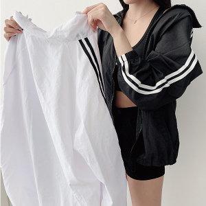 남녀공용 오버핏 스트링 두줄 얇은 바람막이2color